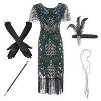 1920s Flapper Roaring Plus Size 20s Grande Gatsby Fringed Sequin Frisado Vestido e Embelezed Art Deco Vestido Acessórios XXXL 210309