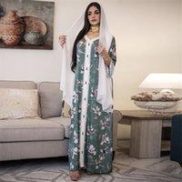 Сискакия этническая V-образная лента для ленты Maxi Dress Fall Свободные мусульманские Jalabiya Abaya Платья с полным рукавом Арабская исламская одежда Дубай 210312