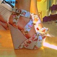 Aneikeh Femmes Sandales Sandals Plate-forme Été Plate-forme Haute Chaussures Chaussures Chaussures à la cheville Imprimez des chaussures de chaussures de chaussures de chaussures 210619