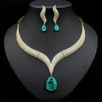 Earrings & Necklace Luxury 2pcs Bridal Zirconia Full Big Water Drop Jewelry Sets For Women Party, Dubai Nigeria CZ Crystal Wedding