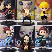 6pcs / Set Demon Slayer KIMETSU No Yaiba Figure Q Ver. Giyuu Inosuke Tanjirou Nezuko Zenitsu Figurine Anime Action Figure 5-7cm C0220