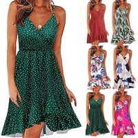 Ishowtienda Women's V-neck Floral Print Strap Summer Casual Swing with Ruffle Bohemian