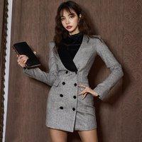 Повседневные платья Корейский женский осенний старинный двухбортный карандаш платье офис леди сексуальный V-образным вырезом длинный рукав элегантная вечеринка Bodycon