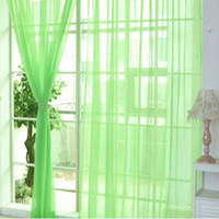 Moda Simple Colores Sólidos Tulle Puerta Ventana Cortina Lavable Cuadrito Panel SHEER Bufanda VALANCES TRANS TRANSLUCTENTE