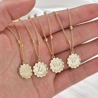 Luxury Jewelry better Selling 12 Constellation Necklace Classic 18k Gold Zodiac Sign Round Pendant Bead Chain