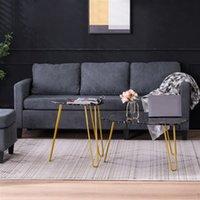 Wohnzimmermöbel Marmor Eisen Fußkaffee-Kaffee-seitige Tisch Set von 2 Schwarz