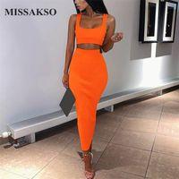 Missakso Two Piece Set Dress Midi Abito senza maniche Click Club Fashion Party Estate Donne Abiti a costine NEON Green Arancione Rosa 210315