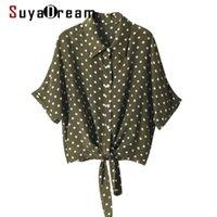 SuleDream Mujer Silk Blusa 100% Seda CREPE MANGE MUEVE DE MUJER DE MAYOS Elegantes Puntos de impresión Blusa Camisa de la Blusa 2021 Summer Office Chic Shirt