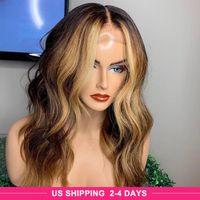 IShow Pre-pppeled 13 * 1 Menschliches Haar Lace Front Perücken Spitze Teil Perücke T1B / 27 Körperwelle Human Hair Perücken Highlight 4/27 Omber Farbe