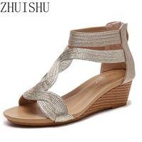 Sandalen Zhuishu Wedge Heel Frauen Sommer Stil Große Größe Abnehmen All Match-Schuhe Heck-Reißverschluss Roman