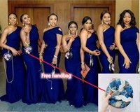고품질 한 숄더 인어 신부 들러리 드레스 단순 드레스 플러스 사이즈 아프리카 가든 컨트리 웨딩 게스트 가운의 하녀