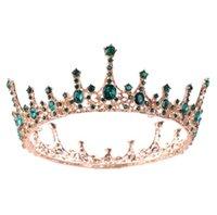 Aessories & Tools Productsvintage Baroque Green Crystal Round Queen Crown Tiara Bridal Diadem Gold Color Headpiece Dress Wedding Hair Drop D