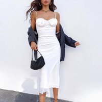 Casual Dresses 2021 Summer Vintage Women Midi Dress Sexy Backless Lace Up Long Party Ladies Spaghetti Strap Elegant White Satin