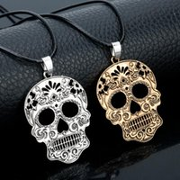 Pendant Necklaces Day Of The Dead Skeleton Necklace Classic Mexican Sugar Skull Fashion Gothic Cool Women Men Accessories Jewelry