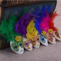 Gnyll Chaud Populaire Mini Venice Masque De Feather Masque Frigo Magnet Italie Souvenirs Ornement Accueil Décor Package 6 Couleurs 12 pcs / Lot