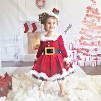 فساتين الفتاة عيد الميلاد الشتاء الخريف طفل الفتيات حزام الاطفال اللباس أكمام طويلة الأكمام شاش ملابس الأطفال 1 2 3 4 سنوات