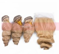 Honey Blonde Peruvian Virgin loose curly Human Hair Weft With Top Closure #27 Loose Wave Hair Bundles With Lace Closure