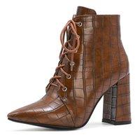 Botas de moda de cordones de moda para mujer zapatos de mujer 2021 invierno tobillo de mujer serpiente de cuero a prueba de agua oeste de bota corta dama sexy