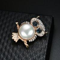 Oro Gufo Breastpin Breastpin Animal Crystal Blue Eye Gufo Brooch Pin Donne Uomo Monili di moda gioielli e sabbioso