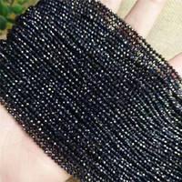 ستون الخرز قسم صغير حبة البرينيلات السوداء 2 ملليمتر 3 ملليمتر زجاج فضفاض الخرز للمجوهرات صنع diy سوار قلادة الملحقات طول 37 سنتيمتر