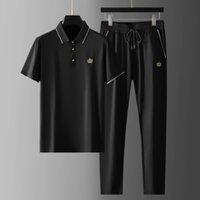 Chevaliers pour hommes 2021 Été mince Mens Sets (T-shirt + pantalon) Luxe Couronne courte couronne brodée Masculine Slim Sport Sport Casual Homme Cuisson