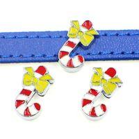 50PCS Christmas Candy Charms Slide Beads DIY 8mm Bracelets Wristbands,Belt Straps Pet Name Collar