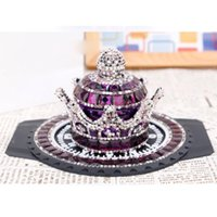 Car Air Freshener Perfume Ornaments Crystal Crown Accessories Refillable Glass Bottle For Home Decor