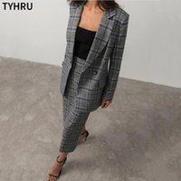 Iki Parçalı Elbise Tyhru Retro Ekose Blazer Tek Düğme Takım Elbise Ceket Uzun Etek 2 Parça Kadın Ofis Bayanlar Set