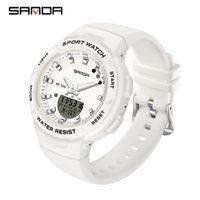 Sanda 새로운 럭셔리 화이트 패션 스포츠 여성 시계 군사 방수 다기능 다기능 LED 디지털 쿼츠 Relogio Feminino 6005 210310