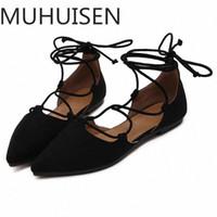 Muhuisen primavera / outono lace up mulheres sapatos casuais sapatos moda mulher apartamentos mulheres 2018 o9z7 #