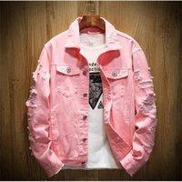 Luxusmänner Designer Jacke Männer Frauen Hohe Qualität Riss Löcher Denim Jacke Herren Cowboy Mantel Frauen Tops Schwarz Rot Jean Jacken Größe M-5XL