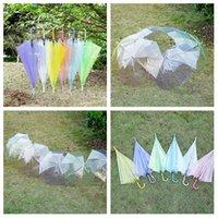 Clear Transparent Rain Umbrella PVC Dome Bubble Rain Sun Shade Wedding Party Umbrellas Long Handle Straight Stick Umbrella By sea T2I52864