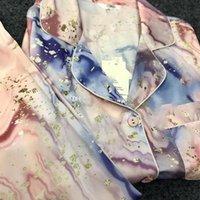 클래식 인쇄 잠옷 잠옷 여성용 가정용 의류 세트 패션 캐주얼 소녀 나이트 워드 겨울 긴 소매 여자 잠옷