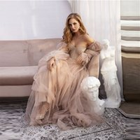 Dusty Pink Tulle A Line Sweetheart Wedding Dress With Detachable Puff Long Sleeves Garden Country Bridal Gowns