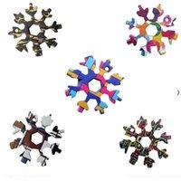 Snowflake Multi Tool 18 в 1 Снежинка Гаечный ключ Мультитационные открылки Бутылки Мульти Клавиша Кольцо Велосипед Инструмент Новогодняя Снежинка HWB9406
