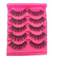 False Eyelashes 5 Pairs Fashion Women Soft Natural Long Cross Fake Eye Lashes Handmade Thick Extension Beauty Makeup Tools