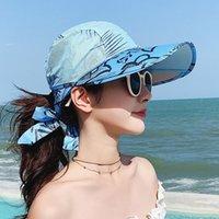 2021 Women 'S Beach Summer Travel Sunscreen Hat Travels Vacation Fashion Wild Sun Hats With Box
