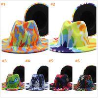 DHL Graffiti Fedora Cappello per Lady Woolen Church Cap Banda larga piatto Brim Jazz Cappelli eleganti Trilby Panama Caps