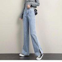 Women's Jeans Light Blue Spring Nice Retro High Waist Loose Straight Open Wide Leg Pants Trend Zipper Vintage