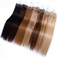 마이크로 링 비드 루프 인간의 머리카락 확장 큐티클 정렬 1g / 스트랜드 100s / lot microcircle 14 여성을위한 28inch 스트레이트 레미 헤어 피스 금발 중간 갈색 20color