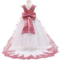 Flor niña boda fiesta dama de honor vestido de bordado de bordado niñas comunión bola año nuevo navidad fiesta cola largo vestido largo