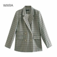 Costumes de femmes blazers wixra femme plaid blazer veste printemps décontracté double boutonnage manche à manches longues