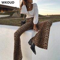 Женские брюки CAPRIS WKOUD Женские леопардовые напечатанные Streetpants Мода Широкая нога повседневная Hiphop высокие талии спортивные штаны Сексуальные брюки P9007