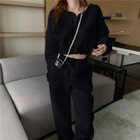 Women's Two Piece Pants Black White Sports Suit Autumn Drawstring Short Top + High Waist Loose Trousers 2 Pieces Set