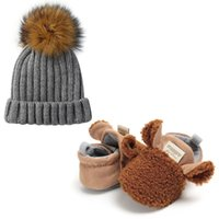 First Walkers 2021 INS Animal Shape Creative Design Born Baby Thickening Keep Warm Soft Boots + Lovely Crochet Knitted Winter Hats
