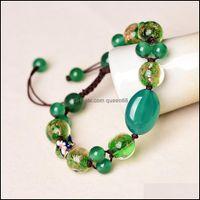 Charm Jewelrydelicate Natural Stone Beaded Bracelet Reiki Healing Green Agate Glaze Cloisonne Fish Crystal Ellipse Charms Women Bracelets Gi