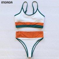 Ingaga Sexy Bikinis Купальники ребристые купальники Женщины Высокое талия Бикини Бич Одежда Сплошные лоскутные купальные костюмы 2021 купальника