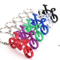 Piccolo portachiavi KeyFob Bicycle Portachiavi in acciaio inox Apribottiglie in bicicletta Colorful Metal Keychains Sport Souvenir Strumento DHB8932