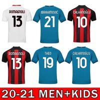 2021 CA Milan Home Soccer Jersey Ibrahimovic Brahim Tonali Tonali Theo Bennacer Rebic Leaoa Camisa de Futebol Calhanoglu Saelemaekers Man + Kids Kit