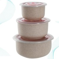 3pcs Wheat Straw Storage Box Lunch Bowl Storage Container Boxes Tableware Lunchbox Dinnerware Set (Nordic Cream-colore
